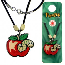 NECKLACE - WORM IN APPLE